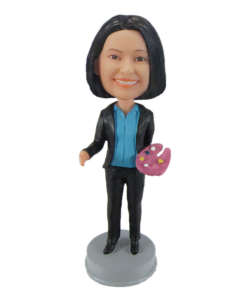 Female Aritst painter bobblehead doll F837