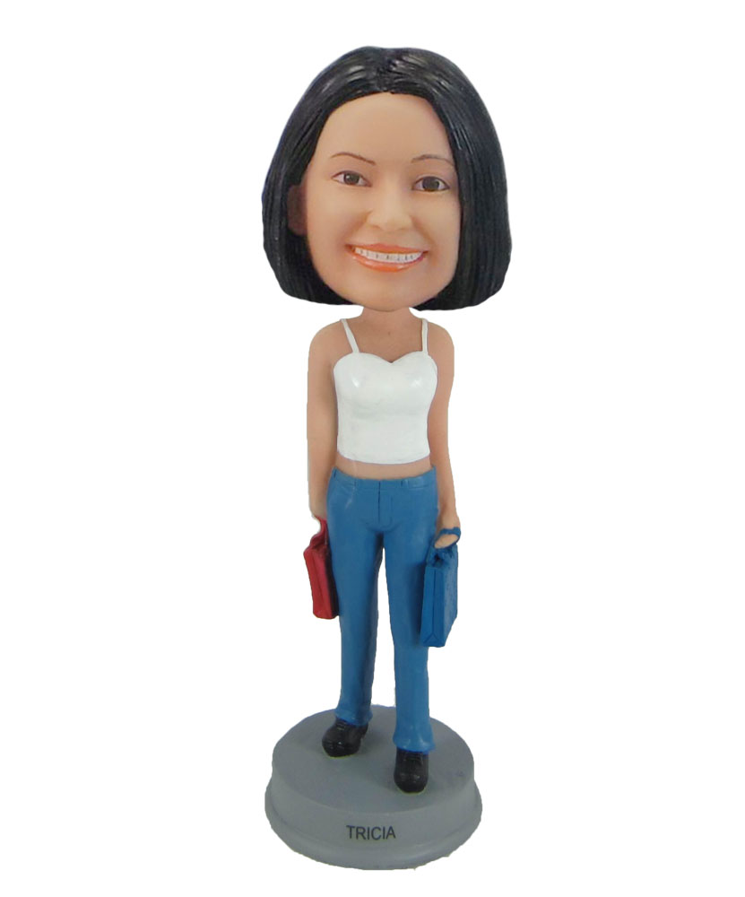 Shopping woman bobblehead personalized doll F858