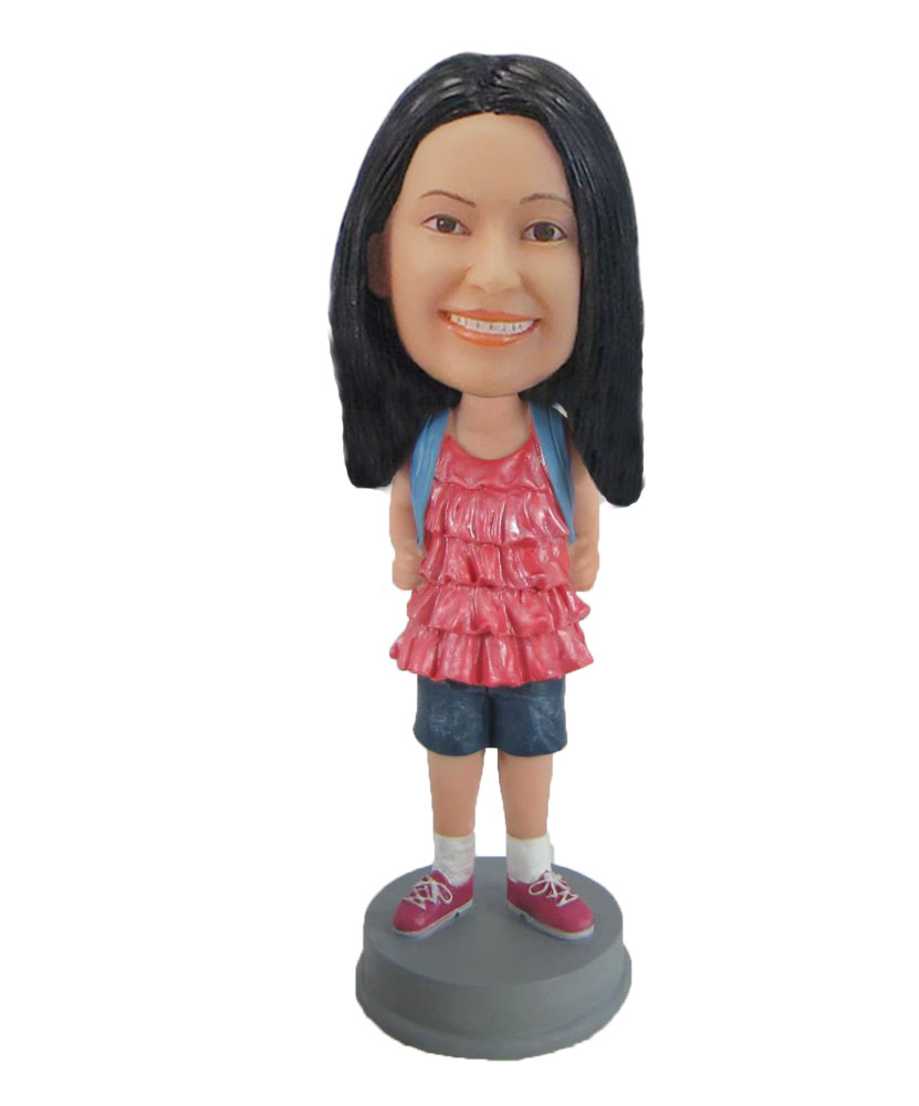 school girl in Cute pink top with bag bobblehead F864