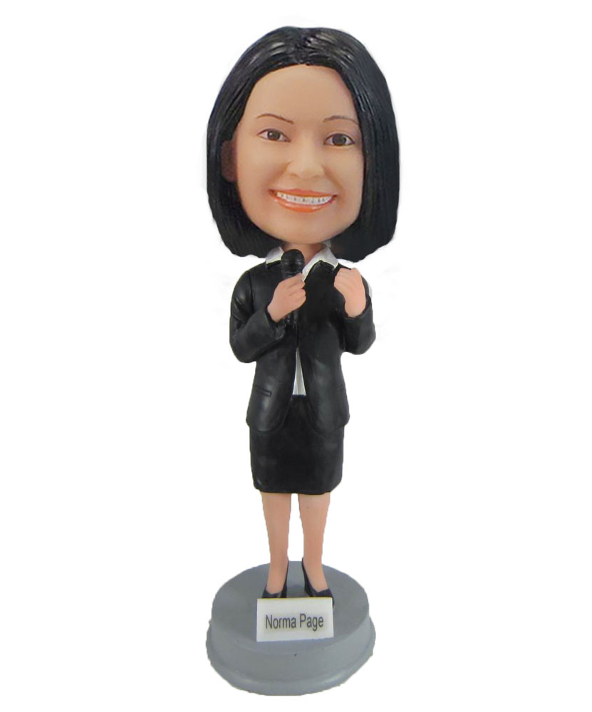 Female Speaker in Business Suit Bobbleheads F913