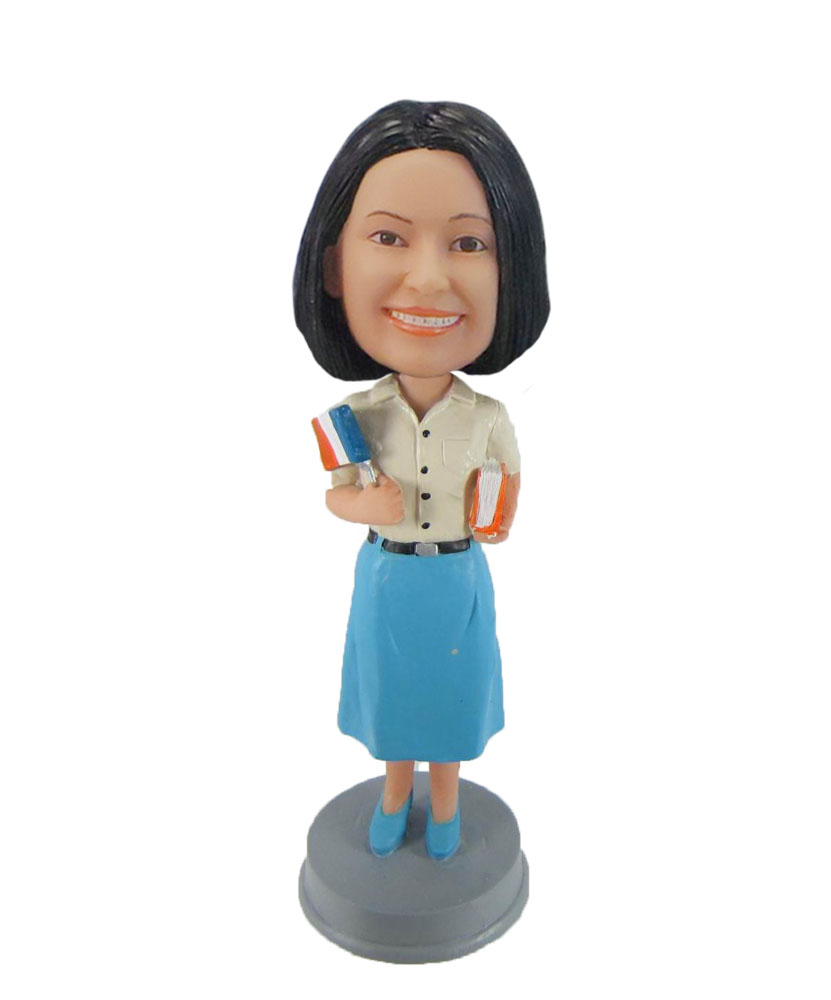 Student in Blue dress your own bobblehead doll F993