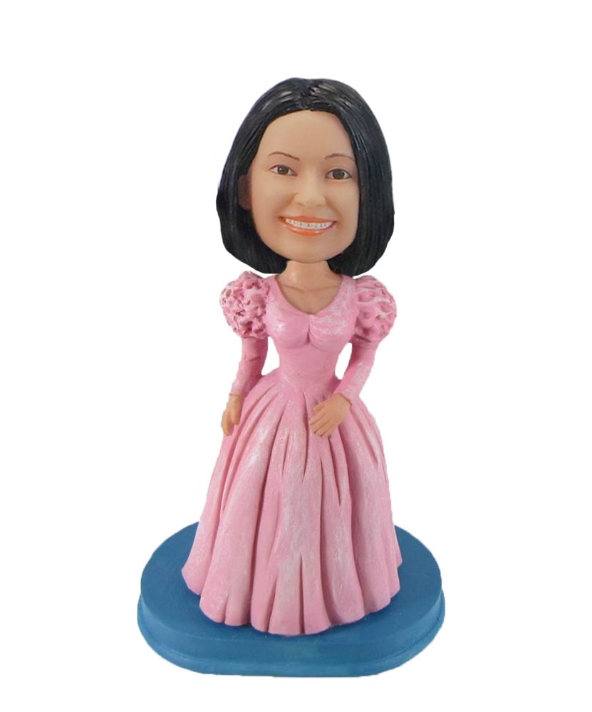 Girl wearing Vintage style princess dress bobblehead doll F997