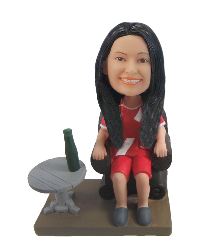 Casual Female drink at Sauna bobbleheads doll F1052