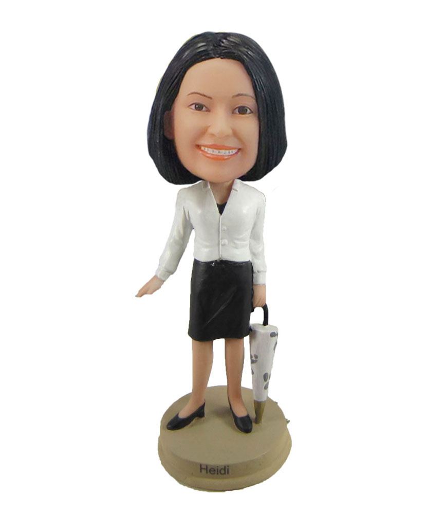 office Lady bobblehead holding umbrella F1059