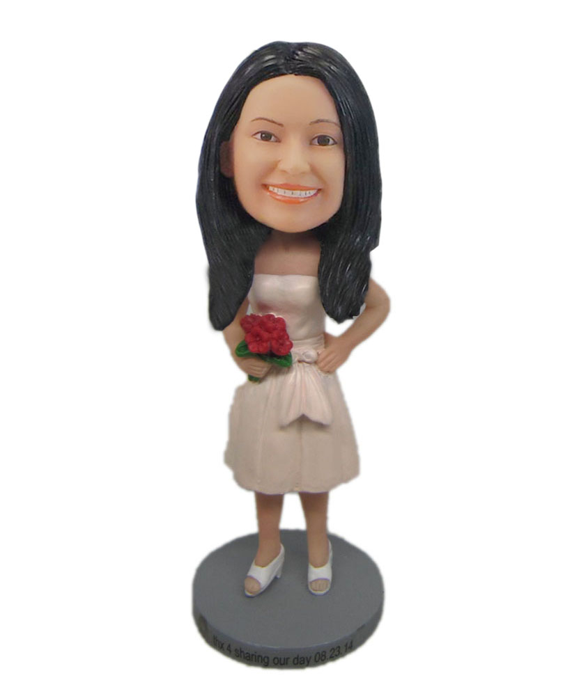 Custom bobblehead holding rose Bridesmaid in pink dress doll F5118