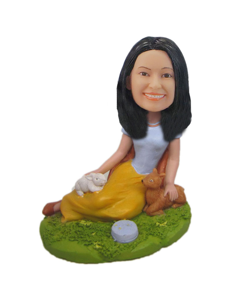 Woman with pets custom bobblehead Forest princess doll F5162