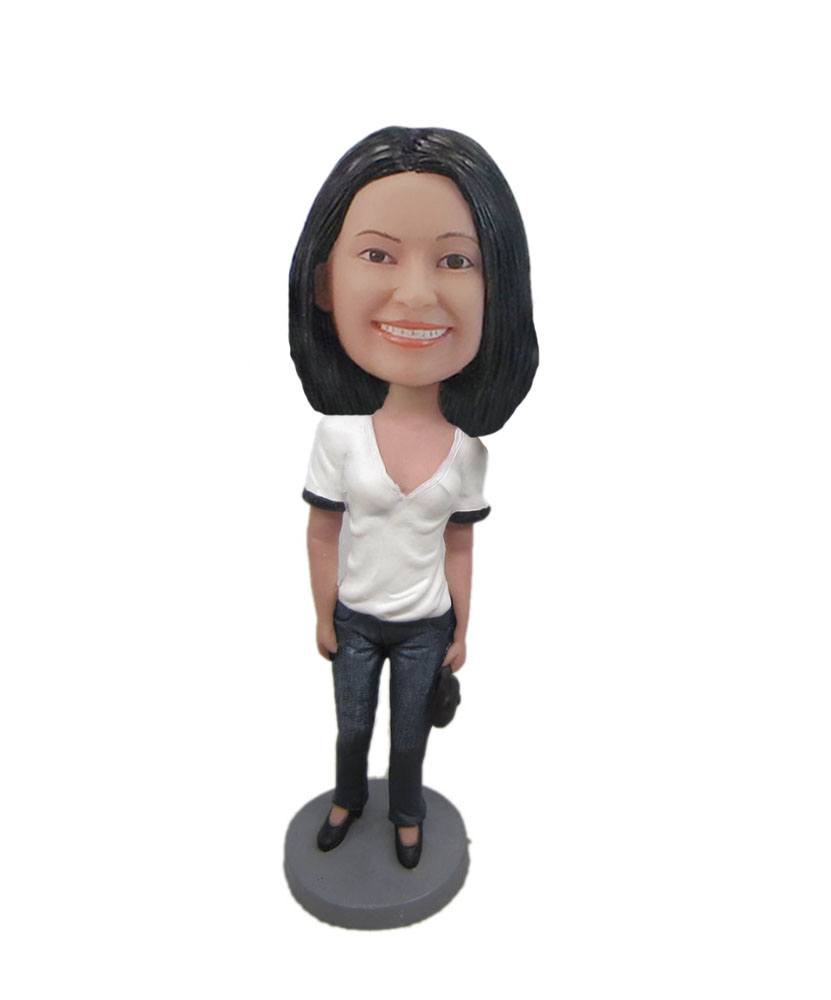 Personalized female in White top bobbleheads casual woman F5380