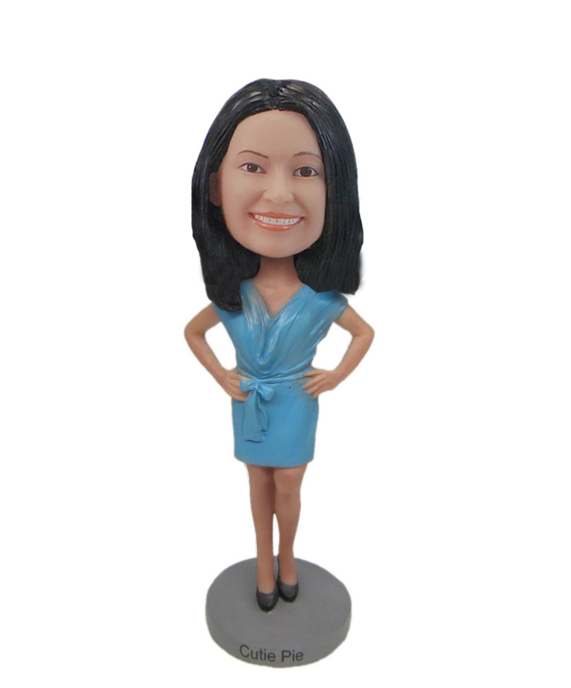 customized bobblehead light blue dress gift for sister F7052
