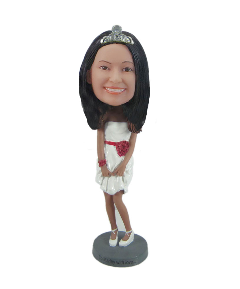 bride in simple wedding dress Beauty page champion bobblehead F7181