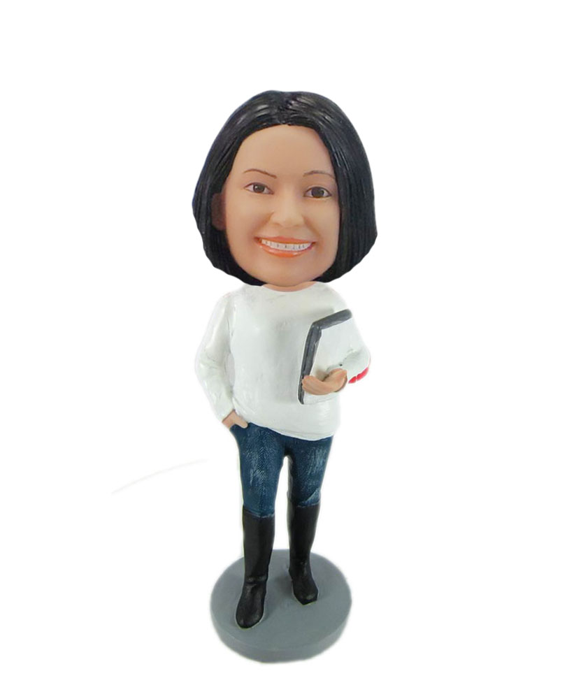 Teacher holding book personal bobbleheads F7782
