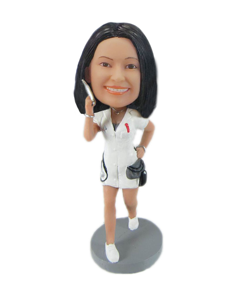Nurse with syringe cheap custom bobblehead F7773