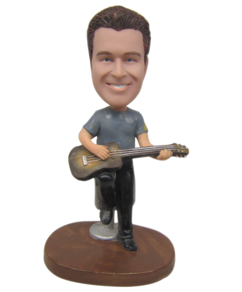 Gray Shirt Male Guitarist Personalized Bobbleheads