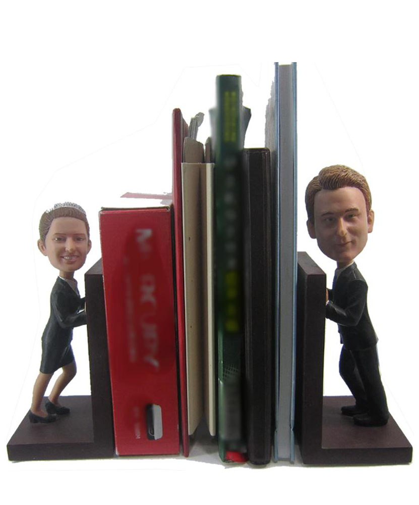 Couple Bobble Head Figurine Book Holder D002