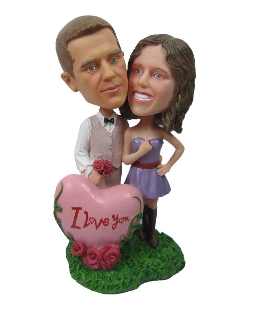 I Love You Heart Couple Personalized Bobbleheads