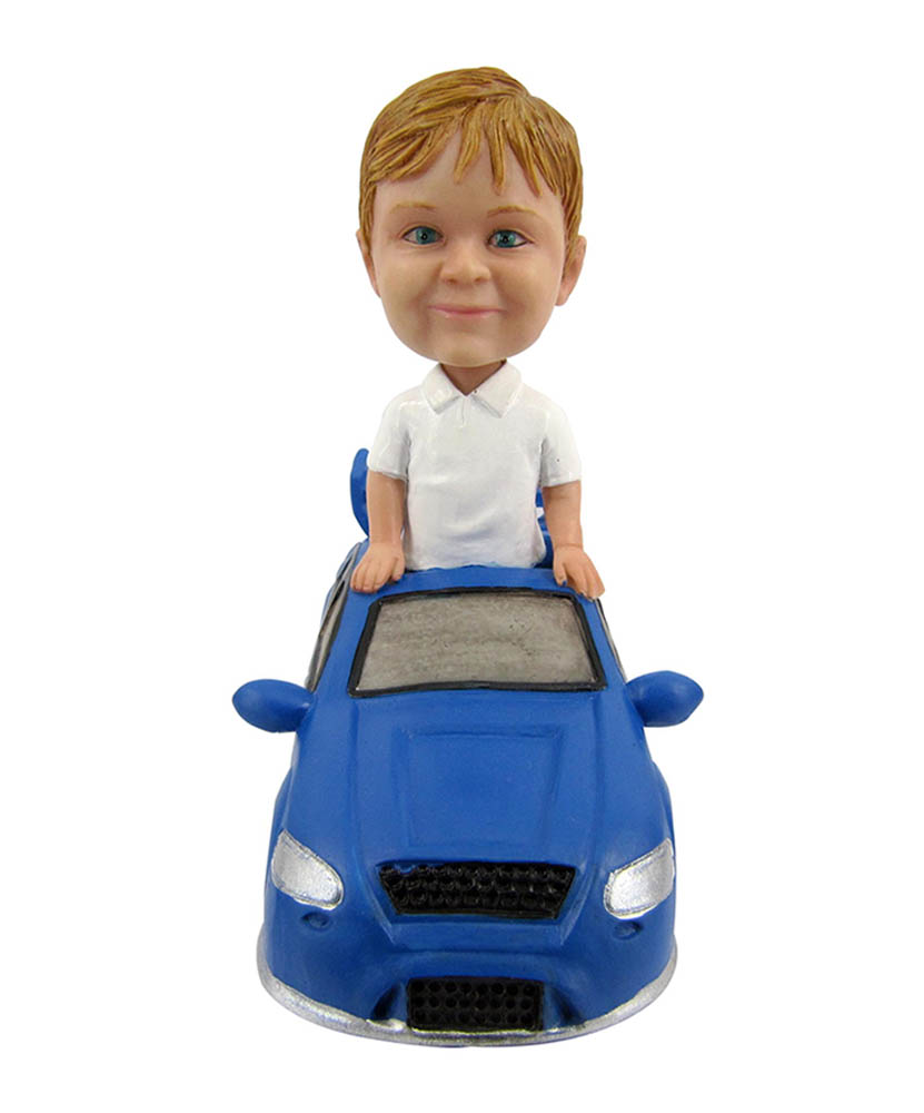 car bobbleheads male in a porsche bobblehead doll