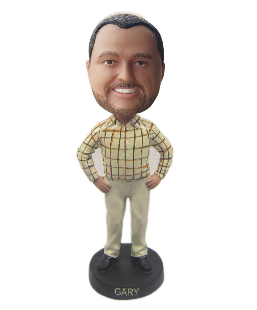Bobblehead custom cheap stand with arms akimbo khakis B235