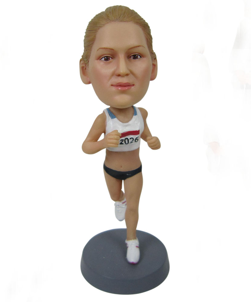 personal bobblehead of female runner G042