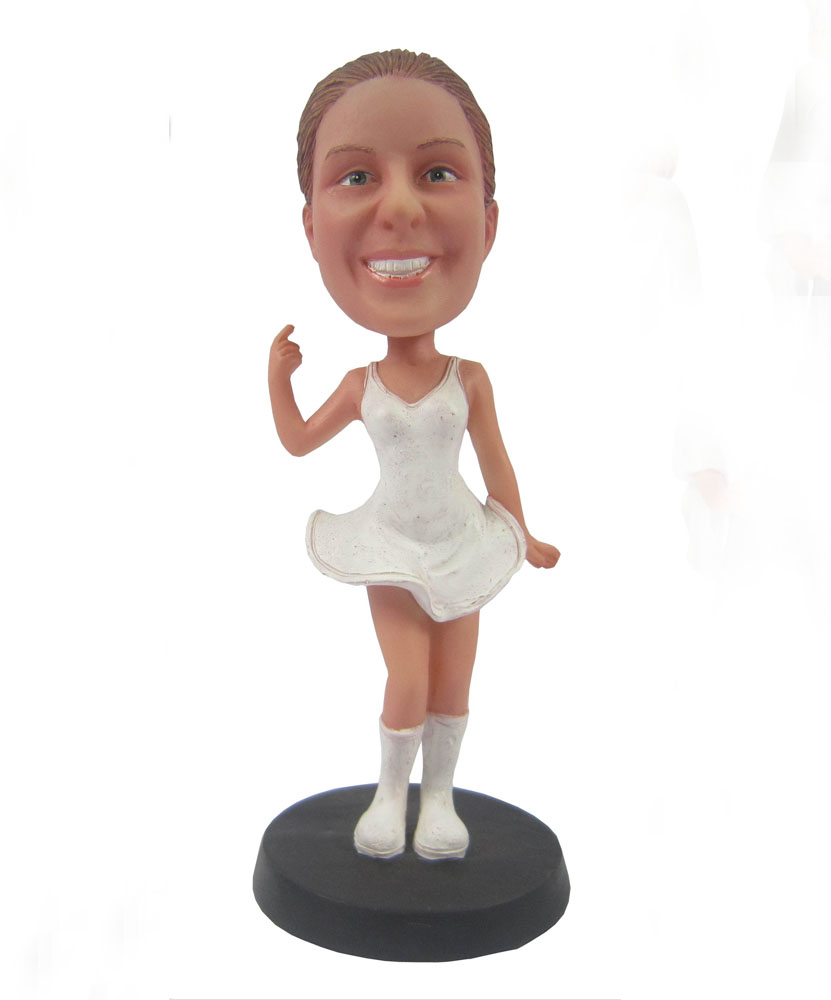 funny bobbleheads with white skirt and sweet smile G057