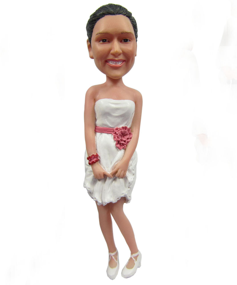 Charisma bobblehead of beautiful lady with white formal dress G089