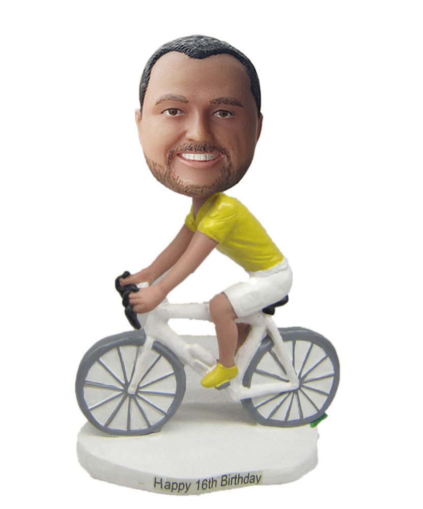Personal bobble heads with bicycle