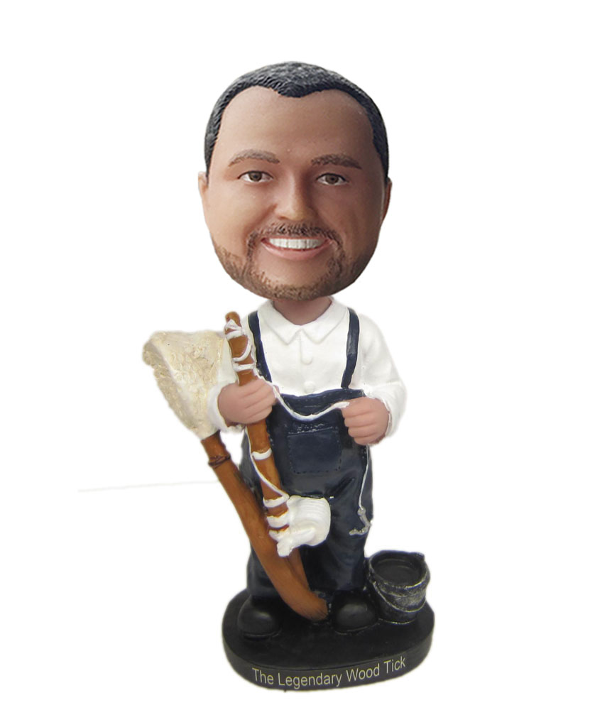 Special bobbleheads of cleaner dressed in white shirt and suspenders
