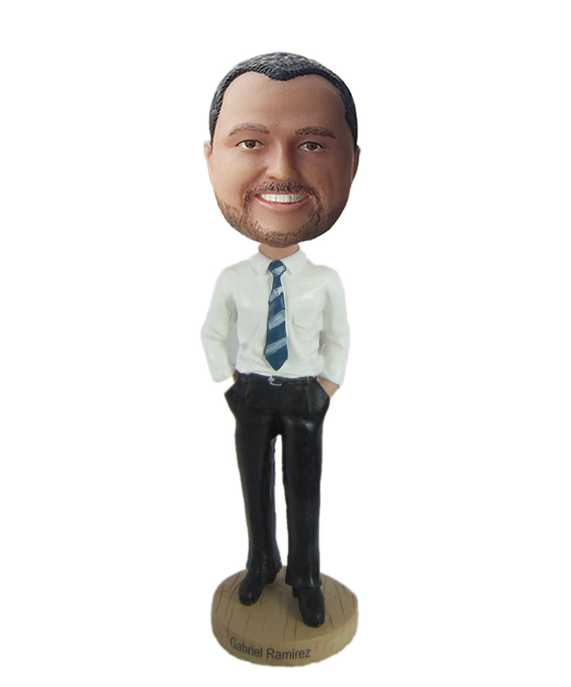 Custom bobble head dressed in white shirt and black trousers