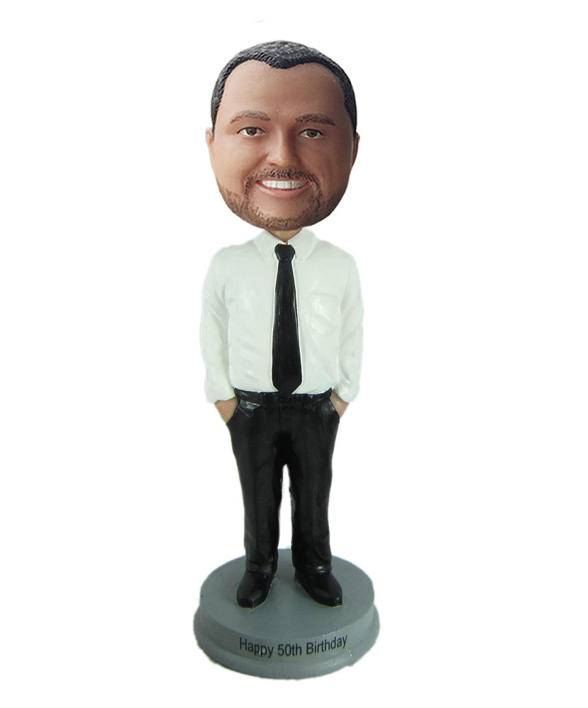 Male office bobbleheads with white blouse
