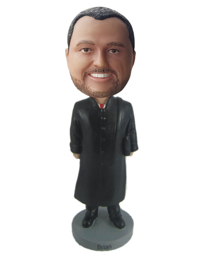 Personalized bobbleheads dress in a black long gown