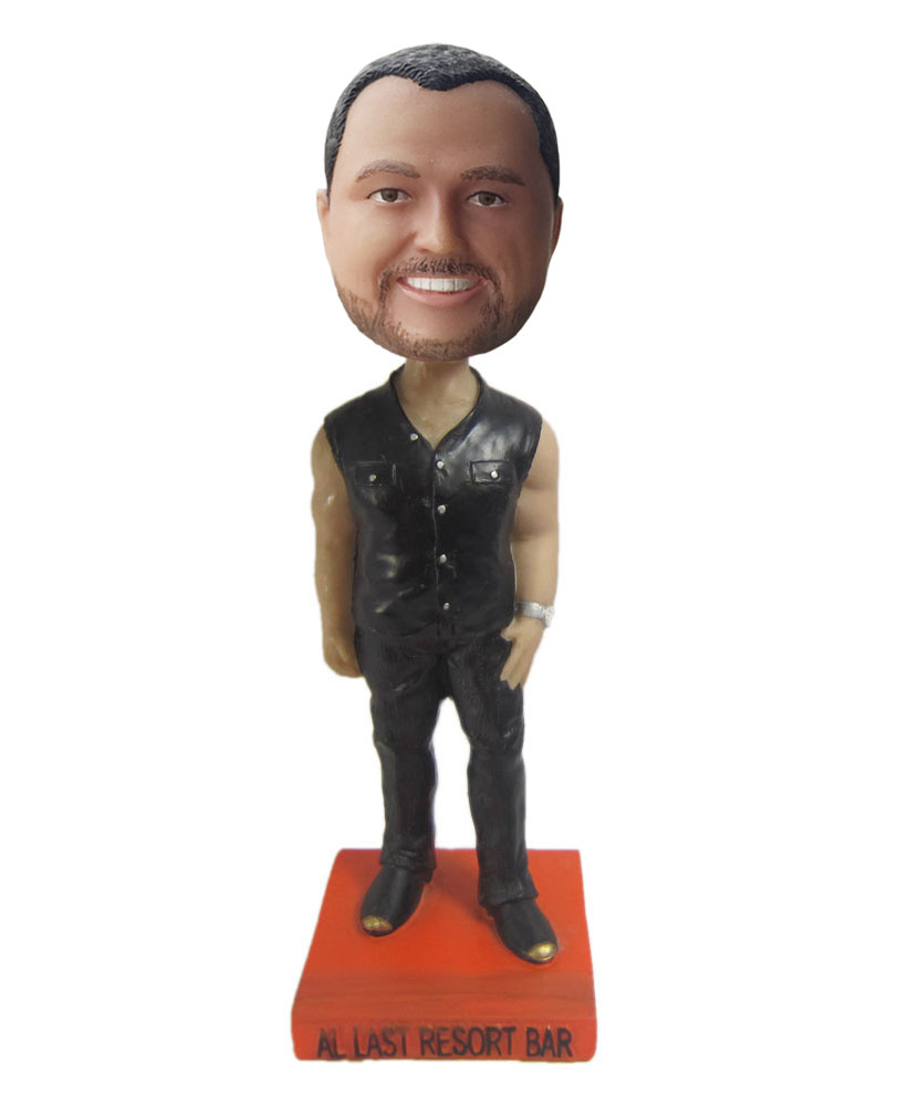 Cool bobbleheads with black sleeveless jacket and trousers