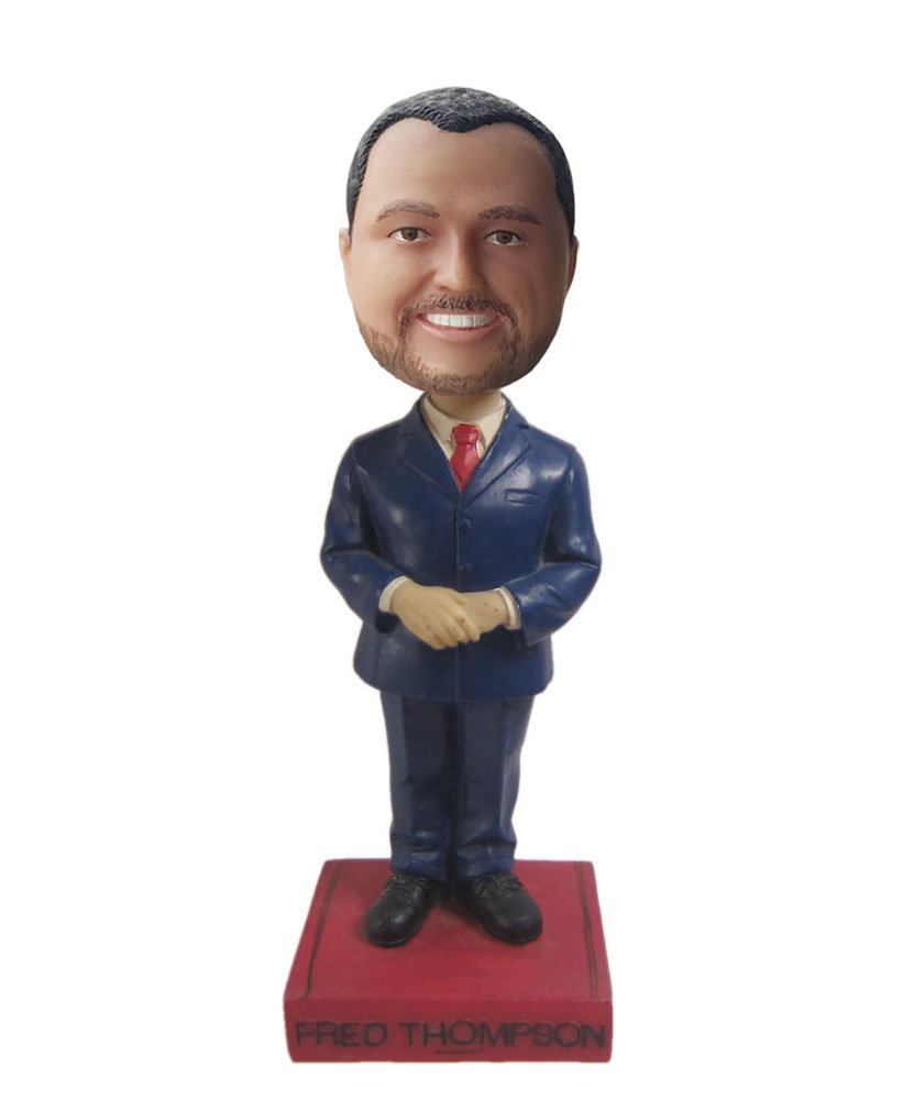 Cheap custom bobbleheads with navy blue suit