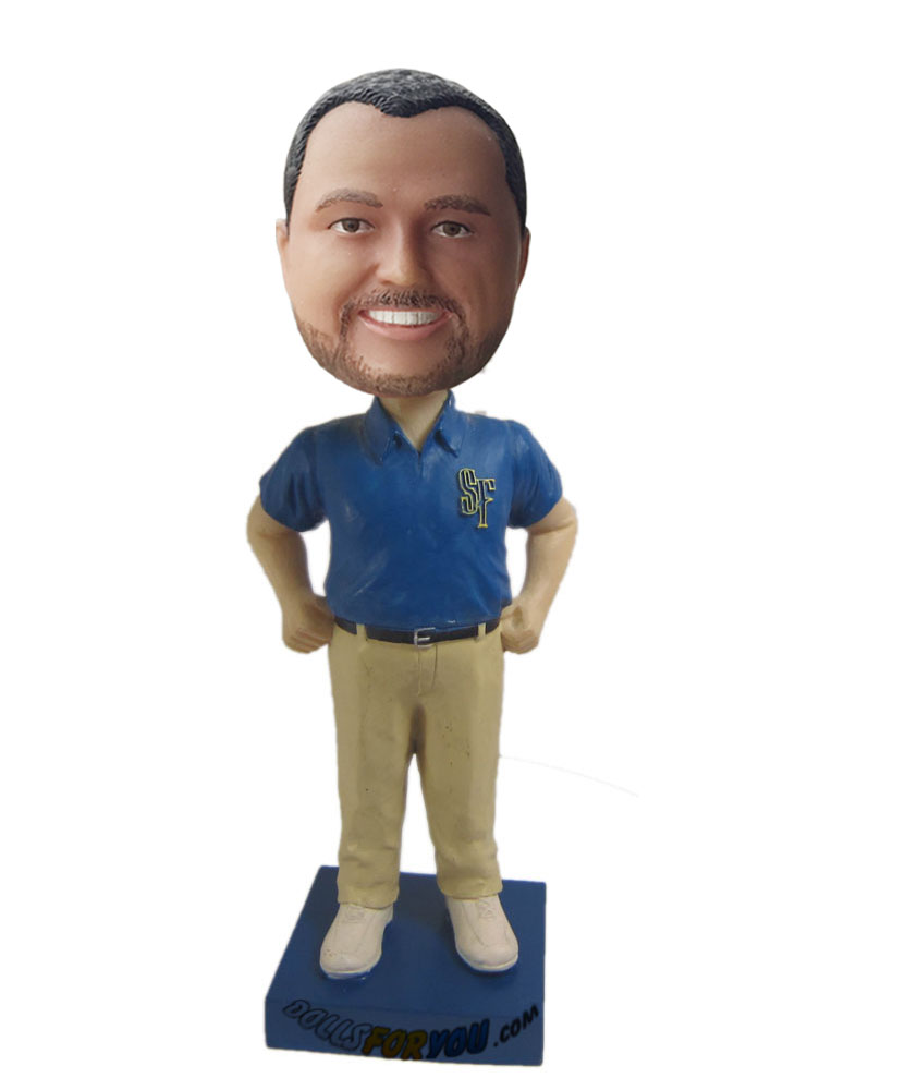 Personal bobblehead with blue shirt and light yellow pants