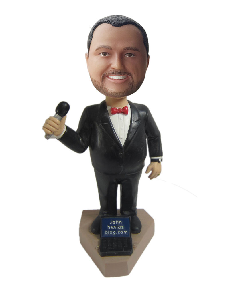 Custom bobblehead doll of male singer with black dress