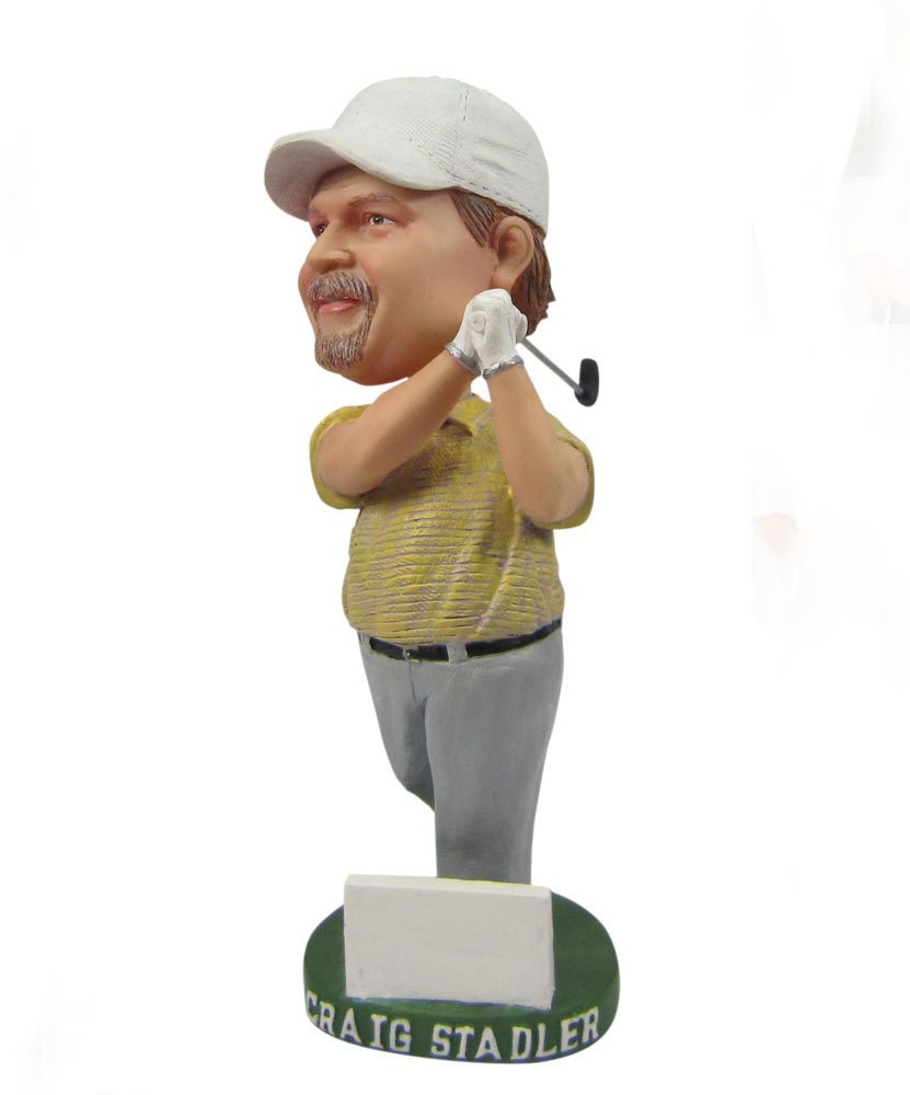 Male golfer swinging His club bobblehead B309-1