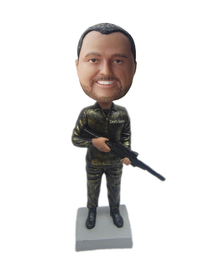 Bobble head shop man with gun bobblehead Doll B305