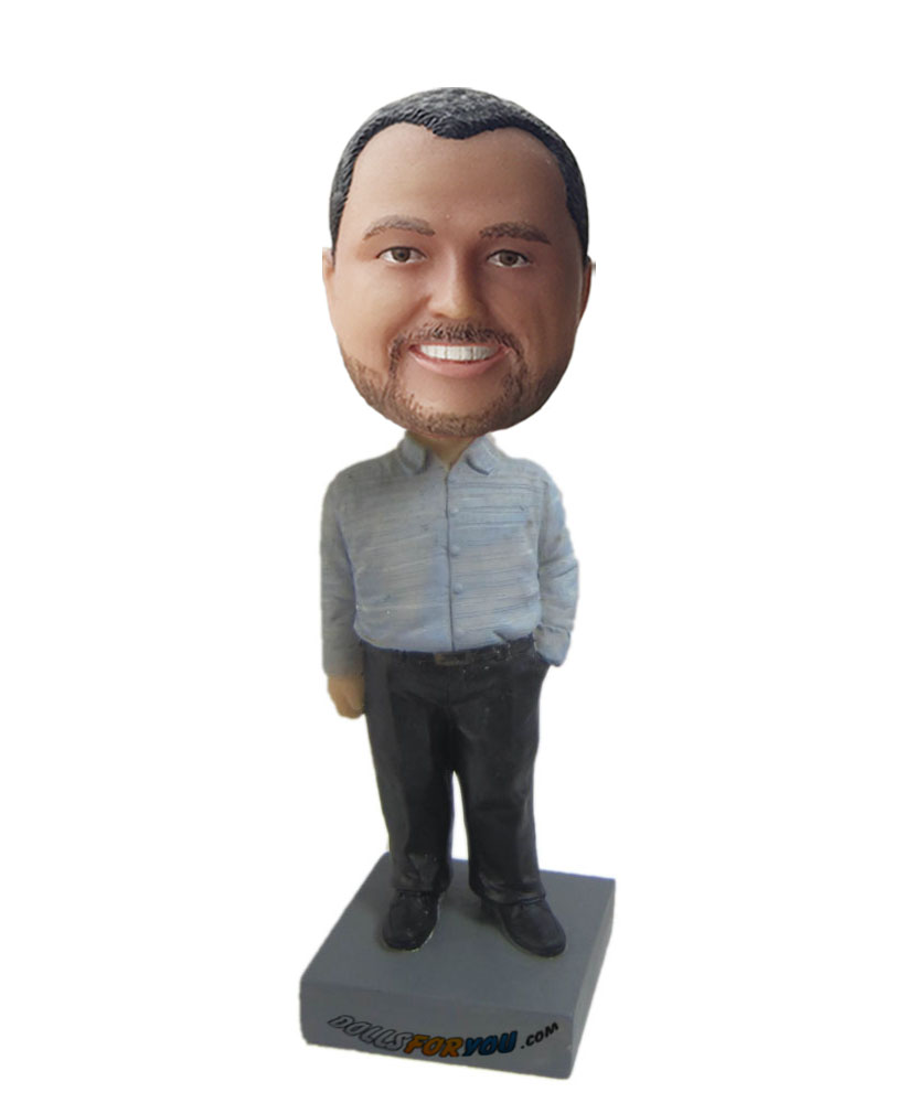 bobbleheads personalized with grey shirt and black pants G198
