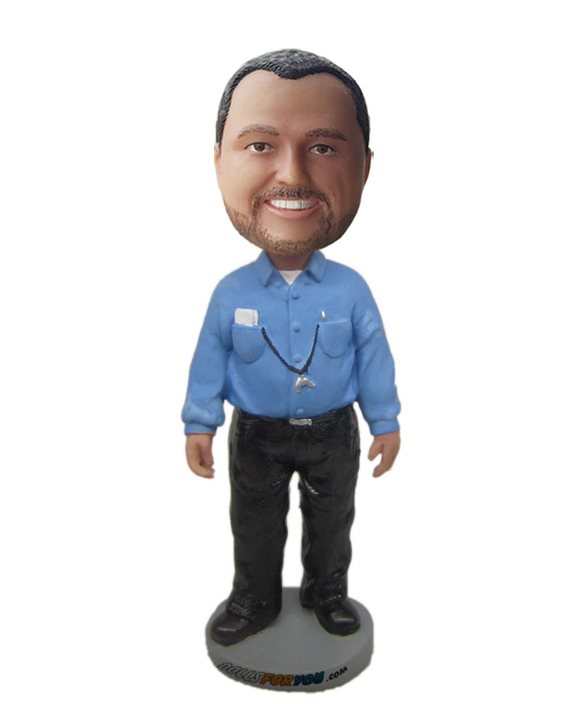 male customizable doll with blue shirt and black trousers  G200