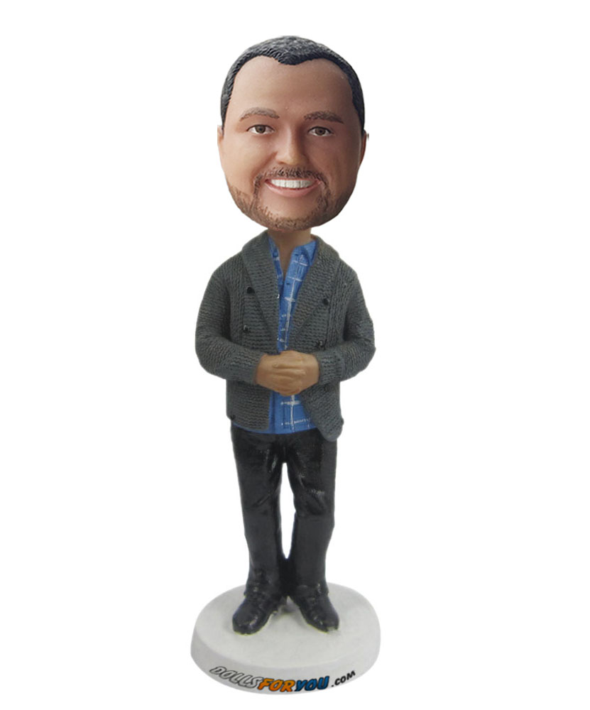 best bobbleheads with grey sweater coat G202