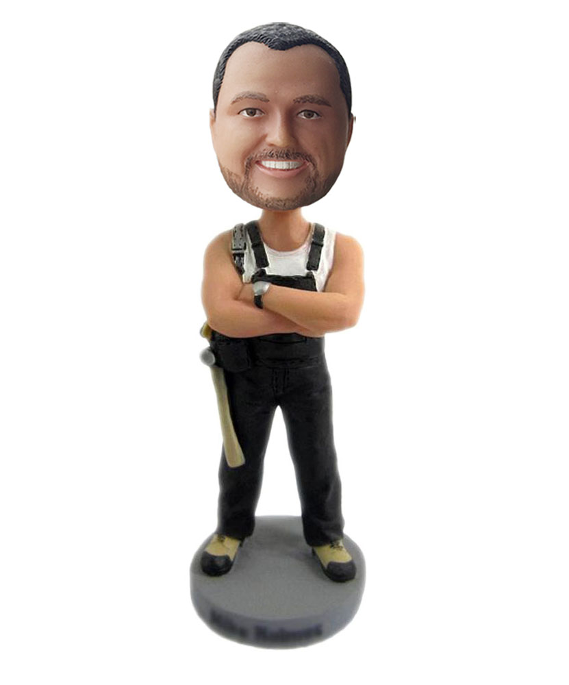 male dashboard bobbleheads with black suspenders G203