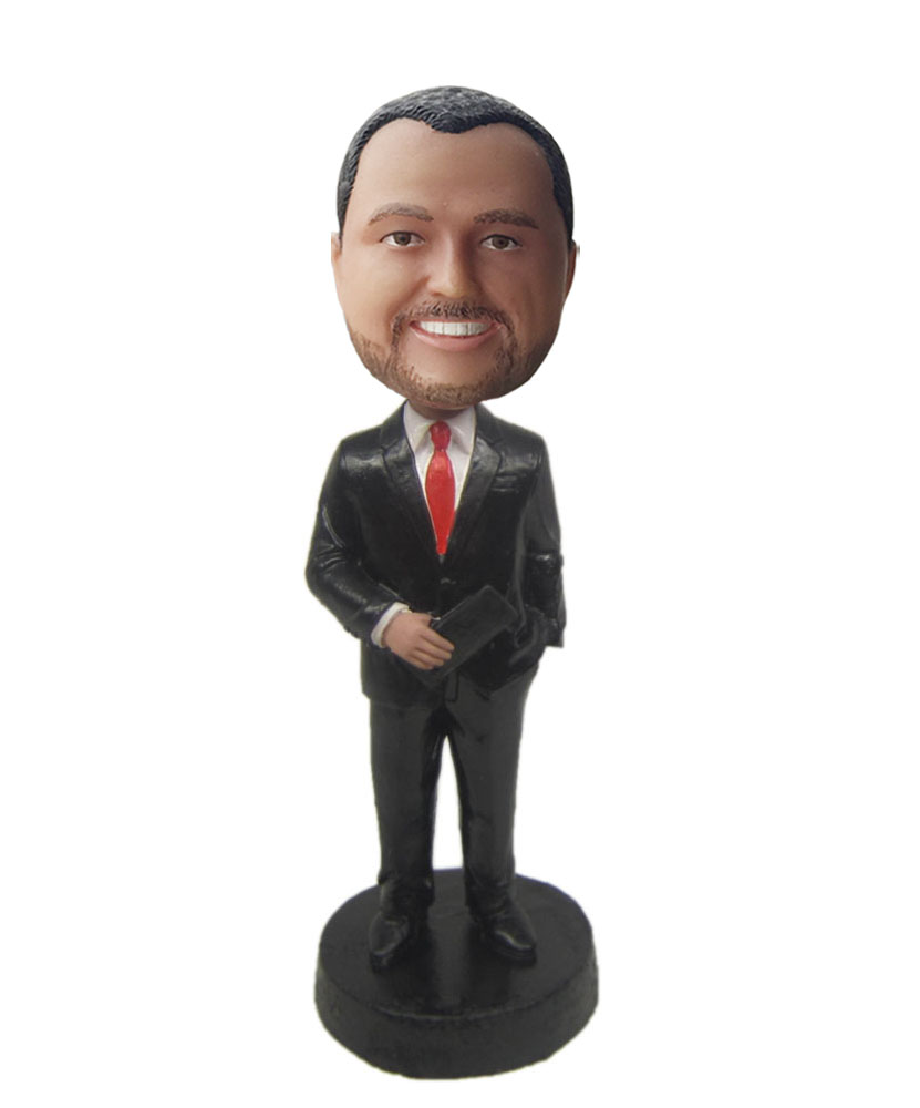 custom made bobbleheads with black suit and red tie G216