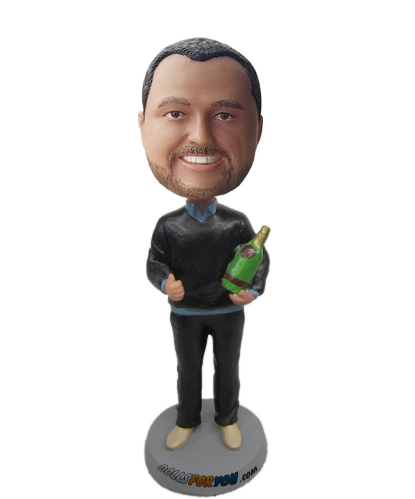 dashboard bobble head with green bottle on hand G219