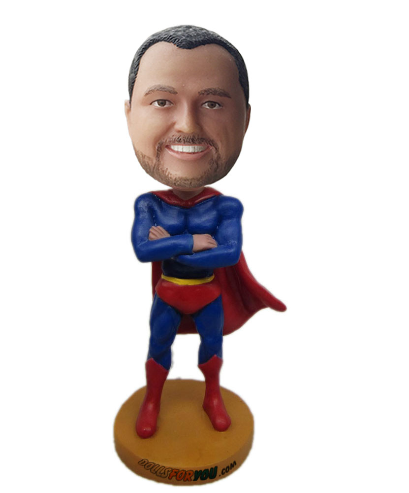 superhero bobbleheads with blue and red dress G220