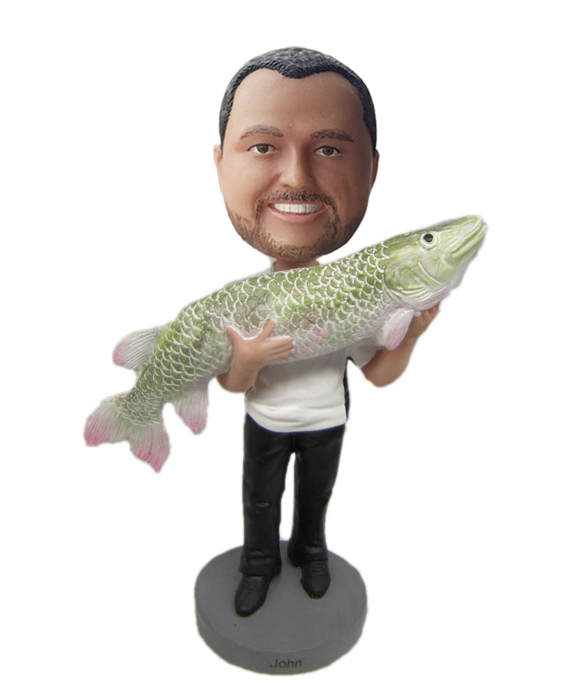 customizable bobble heads holding a big fish on hands