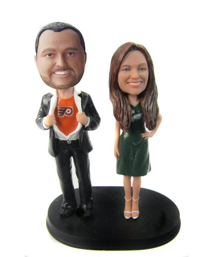 Funny Superhero Sports Jersey Couple Bobbleheads