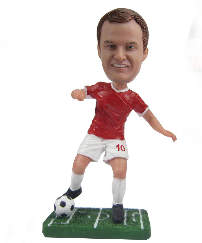 Soccer playing man No.10  bobblehead doll