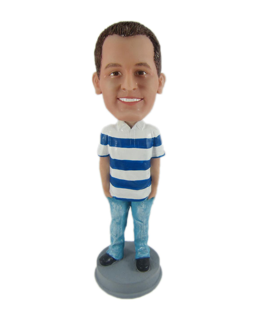 Custom made bobble head with stripe T-shirt and blue jeans