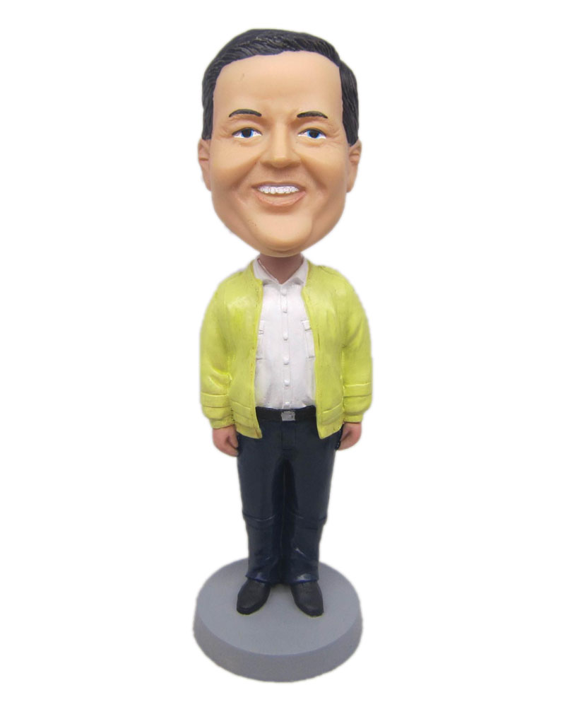 custom bobble head dolls with yellow coat and black trousers
