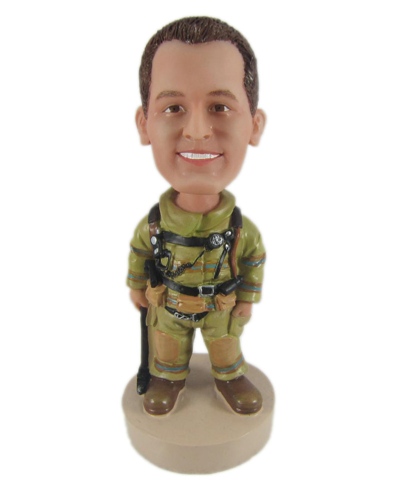 bobblehead soldier with one hand in pocket