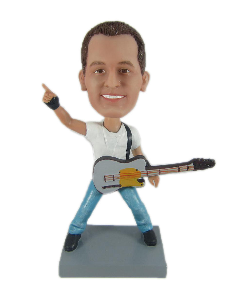 guitar bobblehead dolls with one finger up