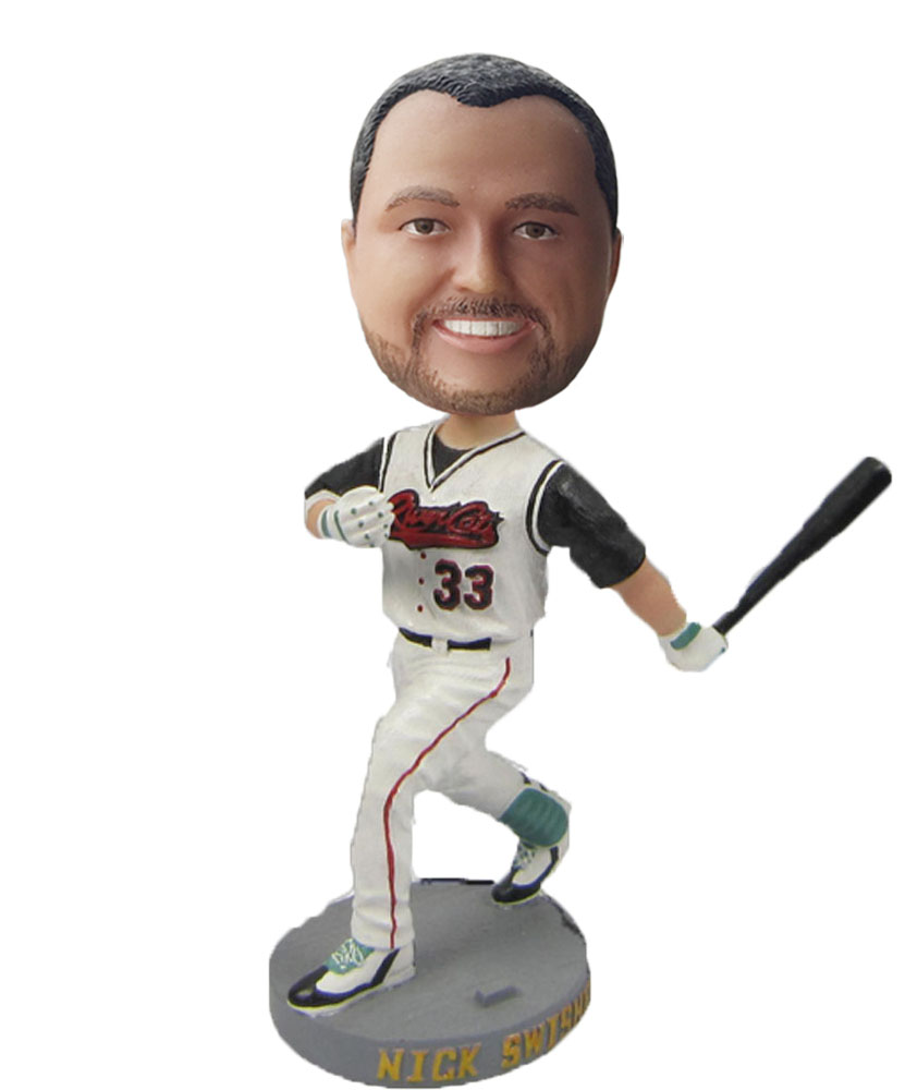 Custom Swinging Baseball Bat Male In Hat Bobblehead S89