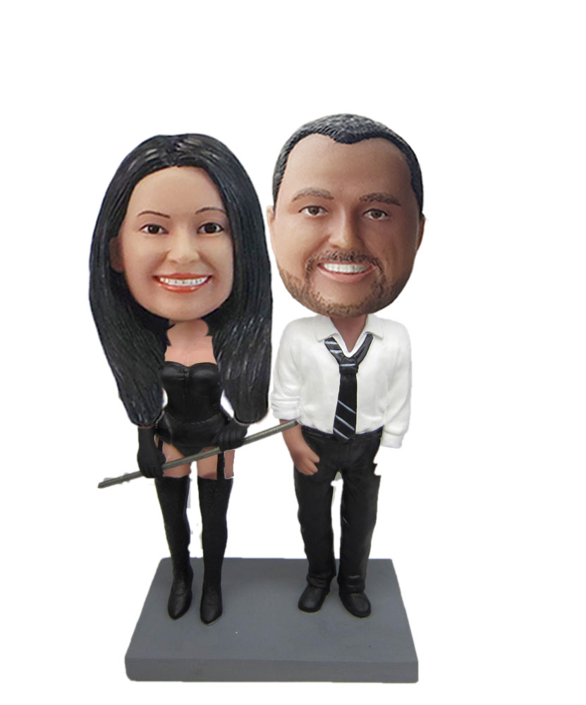 Businessman With Dominatrix Couple bobblehead Doll w775